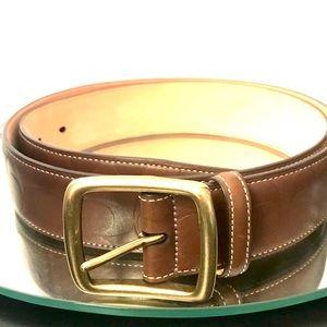 Coach Womens Brown Leather Monogram Belt Sz 38